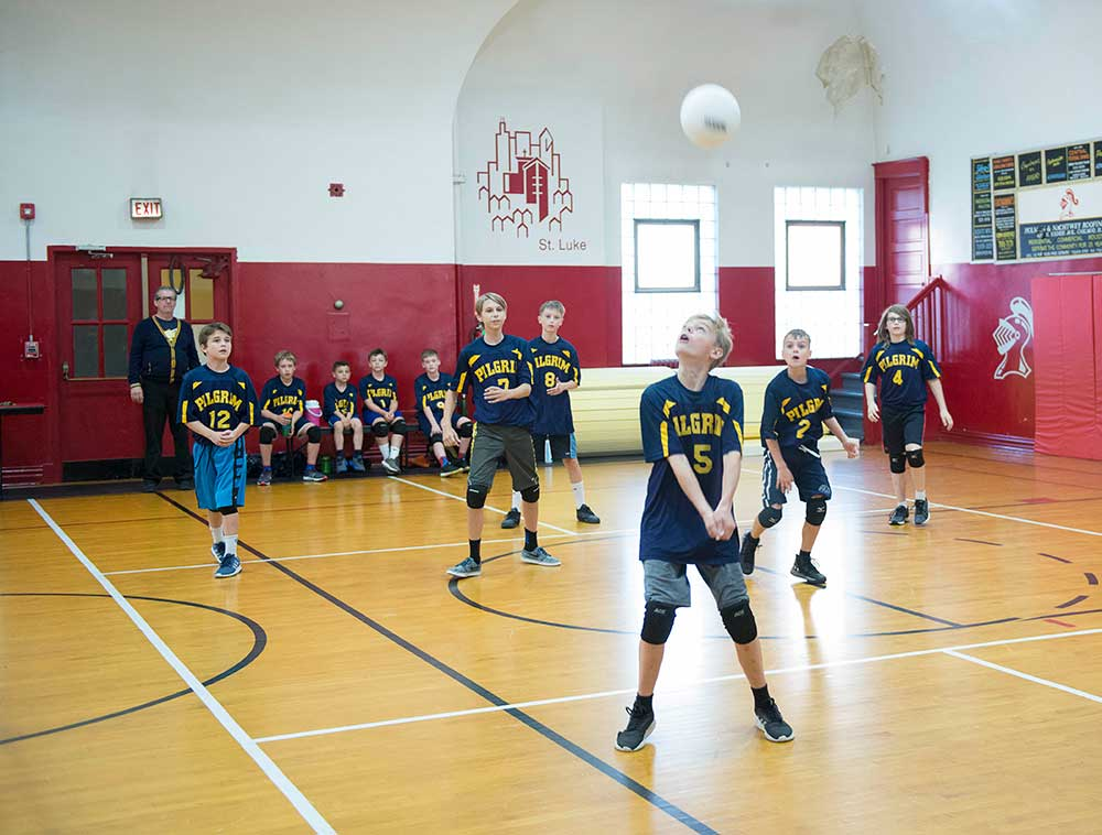 Pilgrim Lutheran Students playing volleyball