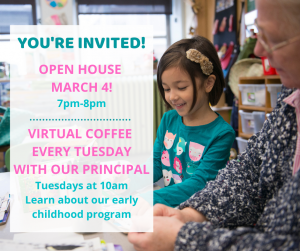 Invite to Open House and Virtual Coffee with the Principal